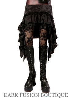 Skirt, Gray and Black Combo, Ruffles, Cabaret, Vaudeville, Steampunk, Wrap, Noir, Gothic, Dance. $65.00, via Etsy.
