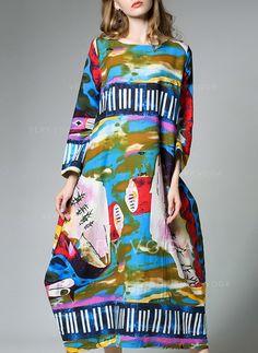 [zł 206.30] Bawełna Z Wydrukować Midi Sukienka (199135720)