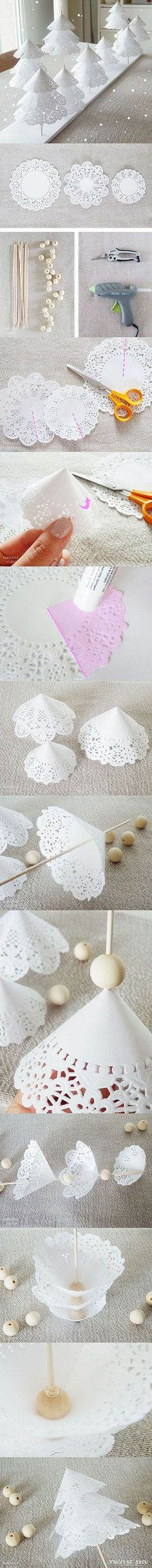 Doily Christmas Trees diy crafts christmas easy crafts diy ideas christmas crafts christmas decor christmas trees christmas diy christmas crafts for kids chistmas tutorials Noel Christmas, All Things Christmas, Winter Christmas, Handmade Christmas, Christmas Ornaments, Christmas Paper, Christmas Scrapbook, Frozen Christmas, Office Christmas