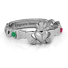 Infinity Claddagh With Side Stones Mother's Ring