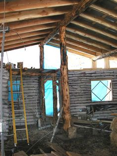 Earthbag Building: Baraka's House - clerestory offset at roofs peak, notice poles and beams. Use scram telephone poles. Natural Building, Green Building, Building A House, Sustainable Architecture, Residential Architecture, Contemporary Architecture, Diy Pole Barn, Pole Barns, Cob House Plans