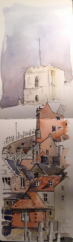 Ink & wash sketch of Whitby in my Moleskine watercolour sketchbook Watercolor Sketchbook, Artist Sketchbook, Pen And Watercolor, Watercolor Landscape, Abstract Watercolor, Watercolor Paintings, Watercolours, Colour Architecture, Watercolor Architecture
