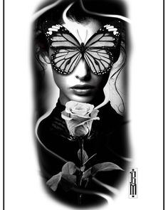 #butterfly #rose #face #women #design #tattoo #blackandwhite