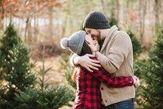 Romantic christmas tree farm engagement photos by boston wedding photograph