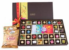 Holi Extravaganza - Box of 32 chocolates ,  Happy holi bar and Herbal gulal color