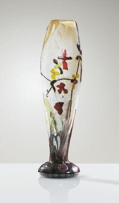 Emile Gallé Vase Marqueterie de Verre 1900. Internally decorated vase with gilt foil inclusions.   Sotheby's