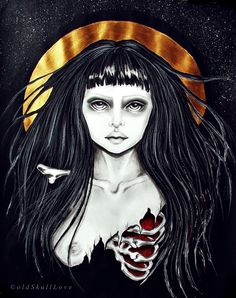 ©oldSkullLove another work just for a practice graphite, aquarelle pencils, acrylic on paper Cute Goth, Darkness Falls, Powerful Art, Goth Art, Gothic Beauty, Macabre, Traditional Art, Street Art, Tattoo Designs