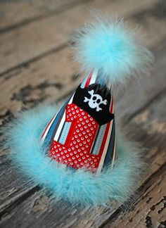 Pirate Birthday Party Hat - First Birthday, Smash Cake Pics, Photo Prop - Pirate Ahoy Matey Hat in Red, Aqua, Teal, Black