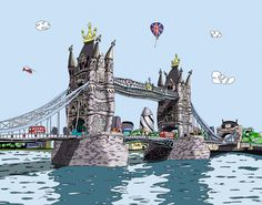 """""""Flying the flag"""" by Dylan Izaak, official Olympic artist for London 2012 Lily Model, Art Paintings For Sale, Famous Buildings, Urban Life, Art For Art Sake, Claude Monet, Water Lilies, Tower Bridge, Lovers Art"""
