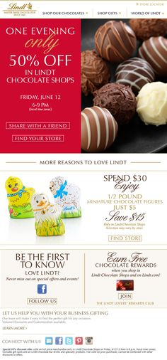 Tonight only, 6-9pm! 50% off everything @lindtchocolate at our center. #yum #chocolate
