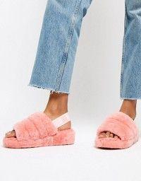 83a172f9d02 UGG Excluisve Del Rey Pink Triple Strap Fluffy Heeled Sandals in ...