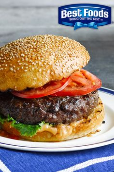 """Simple tip for a juicier burger…mix Best Foods Mayonnaise right INTO the ground beef before grilling. We like to call this recipe our """"burgervention""""!"""
