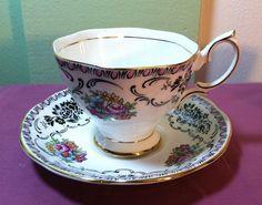 English Royal Albert Damask Bone China Cup Saucer Black Pink Trim Floral | eBay
