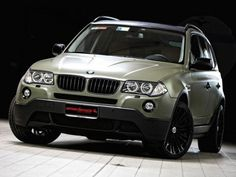 Matte 'Military' Green BMW X3 by Romeo Ferraris: 2008 BMW X3 Romeo Ferraris interior steering wheel details angle view