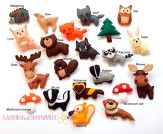 Forest Animals miniature felt magnets by LadybugOnChamomile on etsy ... I totally need Moose and Squirrel!