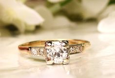 Art Deco Engagement Ring Transitional Cut 0.58ctw Diamond Wedding Ring 14K Two Tone Gold Fishtail Prongs Antique Engagement Ring Size 8!