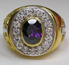 A massive purple amethyst surrounded by a scattering of clear stones is a focal point of our Christian Gold Bishop Ring. It's made of silver with gold plating Silver Skull Ring, Gold And Silver Rings, Silver Man, Yellow Gold Rings, Silver Jewelry, Skull Rings, Jewlery, Mens Rings For Sale, Rings For Men