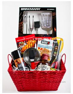 Wine Basket Gift Ideas Discover 32 Homemade Gift Basket Ideas for Men Fathers Day BBQ Gift Basket When you have a real Grillmaster in the house youve got to treat him right. This gift basket is the perfect one to choose for him. Homemade Gift Baskets, Gift Baskets For Men, Themed Gift Baskets, Raffle Baskets, Homemade Gifts, Basket Gift, Man Basket, Fathers Day Gift Basket, Homemade Cards