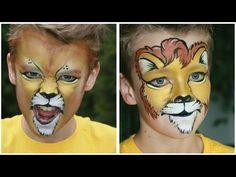 Amazing Face Paint Artist at Disney paints Lion Face Painting Images, Face Painting For Boys, Face Painting Tutorials, Face Painting Designs, Body Painting, Lion Face Paint, Kitty Face Paint, Diy Maquillage, Simple Cat Makeup