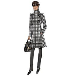 New coat sewing pattern from Butterick features interesting seaming and collar details. B6292, Misses' Coat