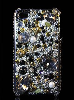 """Bling, Crystal, iPhone 5 Case, Handmade with SWAROVSKI ELEMENTS by OMG Crystals - """"Black Gold"""""""