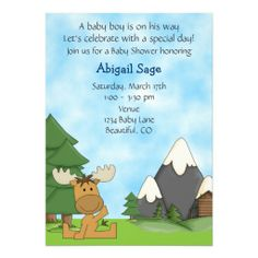 19 best baby shower moose theme images on pinterest baby boy cute mountain moose boys baby shower invitation filmwisefo