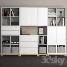 The combination of cabinets with legs Ikea Eket. The combination of cabinets with legs Ikea Eket. We used Ikea Besta…Modules eket, ikea – Diamar Pretelt MarrugoSchrank mit 4 Fächern EKET weiß – Mel Ina Ikea Living Room, Ikea Bedroom, Living Room Storage, Trofast Ikea, Ikea Eket, Ikea Playroom, Ikea Office, Office Spaces, Work Spaces