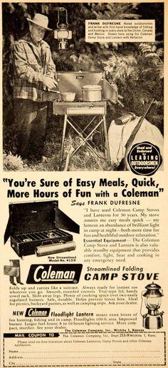 1951 Ad Coleman Camp Stove Floodlight Lantern Frank Dufresne Outdoorsman YHF1
