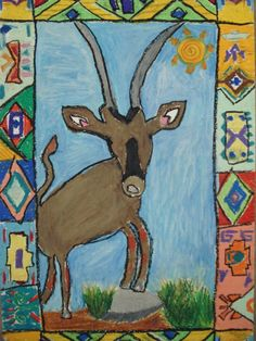 a faithful attempt: African art - african animals with a Ndebele inspired border.