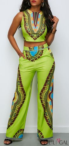 Printed Round Neck Top and High Waist Pants #liligal #jumpsuits #womenswear #womensfashion