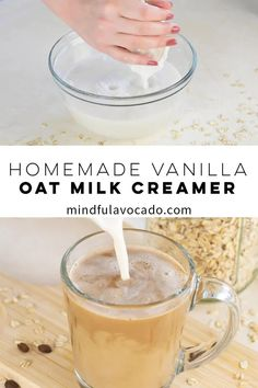 This homemade oat milk creamer is so easy to make and is PERFECT for your coffee! With tons of flavor options, this recipe is a must try! Milk Recipes, Oats Recipes, Coffee Recipes, Smoothie Recipes, Flour Recipes, Smoothies, Vegan Recipes, Healthy Coffee Creamer, Homemade Coffee Creamer