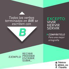 """Todos los verbos terminados en """"bir"""" se escriben con la letra """"B"""", con la excepción de """"hervir"""", """"servir"""" y """"vivir""""."""