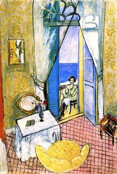 Bom dia! Começando a semana com arte. Essa tela de Henri Matisse, pintada entre 1919 e 1920, retrata o interior de um apartamento em Nice, França. Os móveis, o piso, o papel de parede, a cortina e os detalhes da porta balcão surgem em primeiro plano. A modelo está sentada na varanda, em segundo plano, tendo ainda ao fundo o mar.