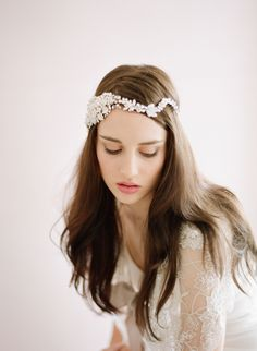 Heavy pearl and crystal flower headpiece - Style # 432 - Ready to Ship (2014, crystal headpiece, hair adornments, headpieces, ready to ship,...