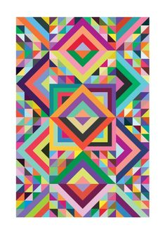.Colorful geometric quilt -- SIZE???