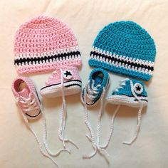 Crochet Converse Sneakers and matching Beanie - 2014 Winter Beanies for Girls