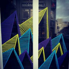 Tape art reykjavik Tape Installation, Tape Art, Geometric Designs, School Stuff, Geometry, Art Ideas, Street Art, Public, Graphic Design