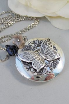 Etched Butterfly,Necklace,Locket,Butterfly, Silver Locket, Butterfly Locket, Wings,Silver. Handmade Jewelry by valleygirldesigns on Etsy.