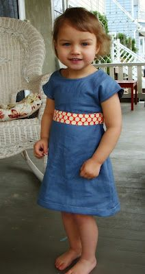 Repurposing adult shirt into toddler dress.