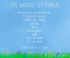 Core Workout for Runners from A Couple of Dashes