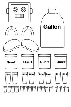 volume robot was one way I learned the unit conversions for liquid measurements in school!The volume robot was one way I learned the unit conversions for liquid measurements in school! Measurement Activities, Math Measurement, Math Activities, Math Vocabulary, Fourth Grade Math, Second Grade Math, Fractions, Homeschool Math, Homeschooling