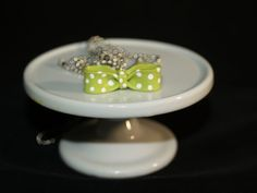 Lime green polymer clay bowl.