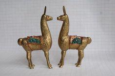 Treasury Lists Vintage Solid Brass Llama with Semi Precious Turqoise Saddlebag. Vintage Decor. South American