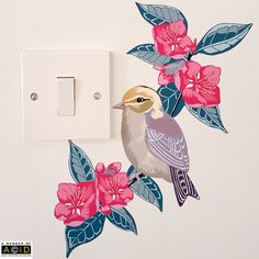 This wall decal is a lovely piece of modern home decor, with a bird and floral theme. The decal features a sweet bird perching on a branch of pink blossoming flowers. This decal looks lovely on white painted doors and would be a perfect addition to a nursery. These stickers are also great at transforming light switches and plug sockets!