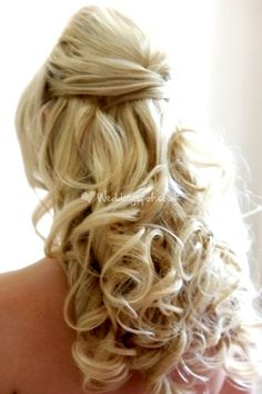 Half up bouffant long curls wedding hairstyle