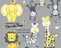 Fabric WALL DECALS Jungle Animal Safari Girls Boys by ToadAndLily