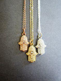 Tiny Hamsa necklace, Hamsa Jewelry, Cubic Zirconia, Protection pendant, Celebrity inspired, Meditation Yoga necklace, Buddhist jewelry.