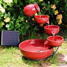various colors.  solar pump fountain included.