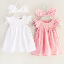 40a6127fb3d810 Nieuwe baby meisje jurk Bebes met romper 1 jaar verjaardag hoofdband roze  party tutu peuter kids