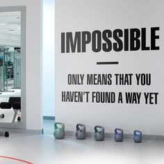 Impossible Motivation Quote Wall Sticker Wall Stickers, Wall Decals, Vinyl Decals, Gym Decor, Quote Wall, New Wall, Textured Walls, Classroom Decor, Motivational Quotes